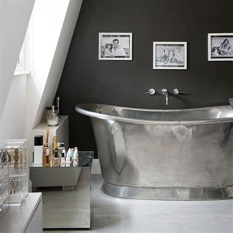 silver bathroom streamlined attic bathroom with silver roll top bath