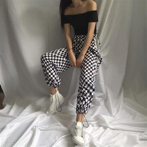 itgirl shop checker grid black white oversived sportish