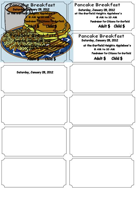 Pancake Breakfast Ticket Template pancake breakfast fundraiser flyer images