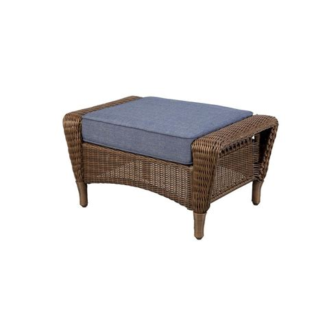 Outdoor Patio Chairs With Ottomans Hton Bay Brown All Weather Wicker Outdoor Patio Ottoman With Sky Blue Cushion 66
