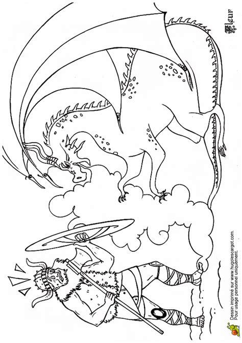Coloriage Le Grand Pere Viking Et Le Dragon Du Feu Sur Print And Color L