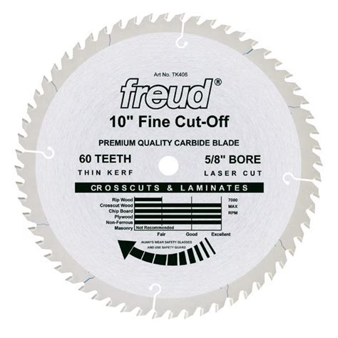 freud 10 in x 60t saw blade crosscut tools