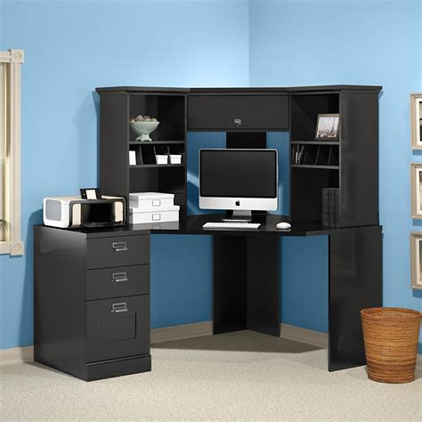 Black Corner Computer Desk With Hutch Cozy Corner Corner Workstation Desk With Hutch