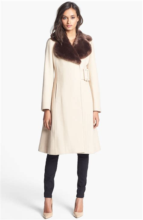 kate spade kate spade briella faux fur collar coat in beige flat iron beige lyst