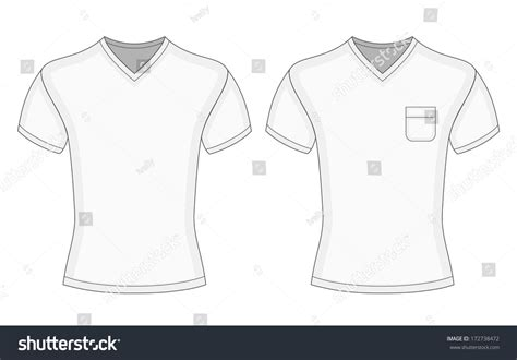 mens white short sleeve vneck tshirt stock vector