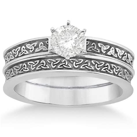 celtic wedding rings palladium carved celtic engagement ring wedding band set