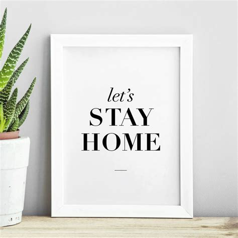 printable typography wall art let s stay home typography print wall art by the