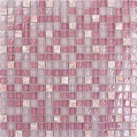 Kitchen Backsplash Tiles Peel And Stick by Pink Stone Amp Glass Mosaic Tile Square Bathroom Wall And