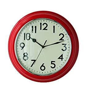 wall clock amazon co uk kitchen home premier housewares kitchen wall clock red amazon co uk