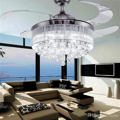 ceiling fans with lights for living room 2017 led ceiling fans light ac 110v 220v invisible blades
