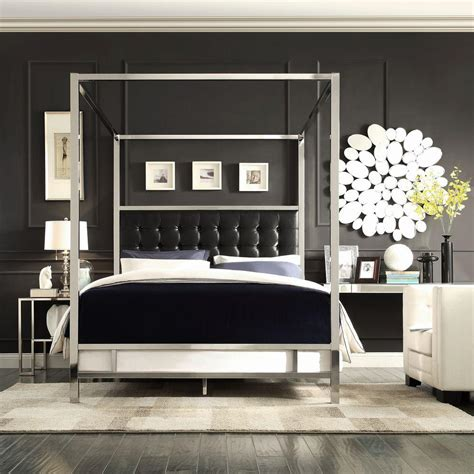 Black King Canopy Bed Homesullivan Taraval Black King Canopy Bed 40e739bk 1bdcpy The Home Depot