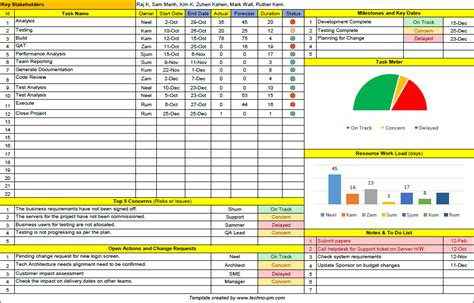 Project Template One Page Project Manager Excel Template Free
