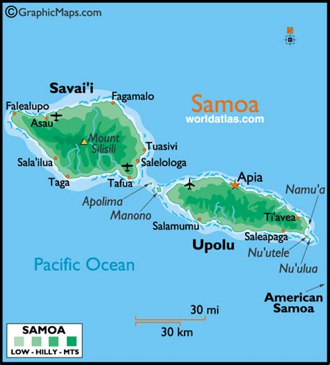 where is samoa on the map samoa large color map by world atlas