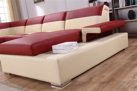 beige leather sectional sofa divani casa t367 modern red beige leather sectional sofa