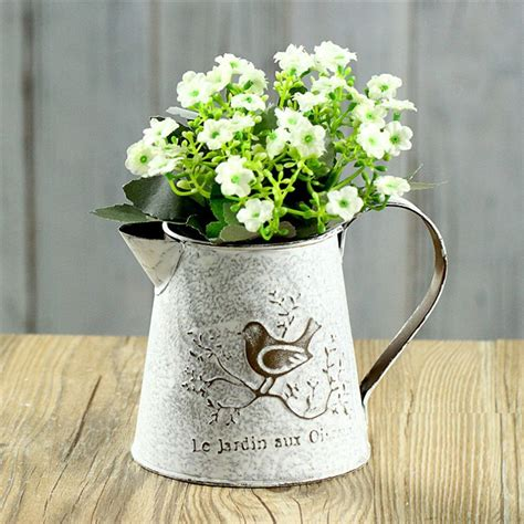 french style white shabby chic mini metal pitcher flower