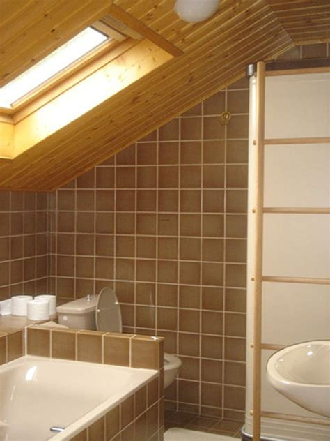wood ceiling in bathroom contemporary bathroom with slanted wood ceiling design