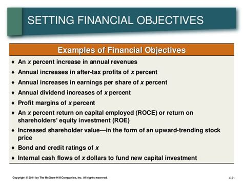 investment objective statement financial statement objectives sm lecture four strategic