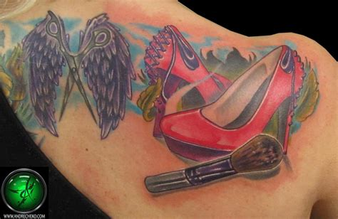 tattoo eyeliner boots shoes and makeup brush tattoo by andre cheko tattoonow