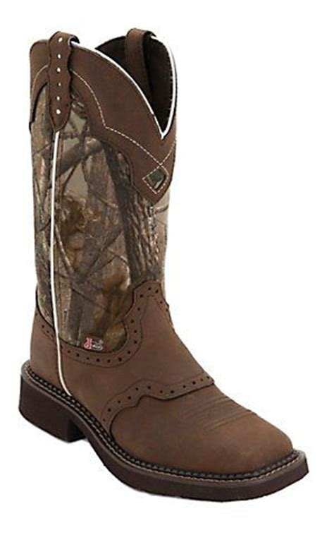 tops boots and square toe boots on