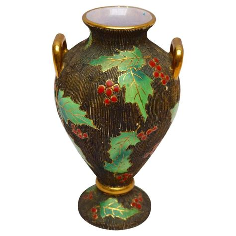 vintage belgian art pottery christmas vase with holly