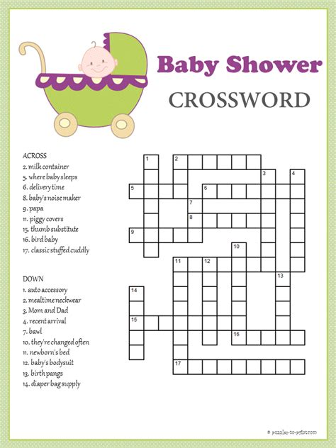 Baby Shower Puzzles Printable baby shower crossword