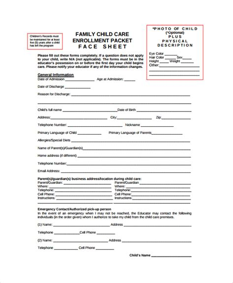 Child Care Enrollment Form Template pin child enrollment form on
