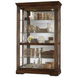 howard miller large cherry curio display cabinet glass