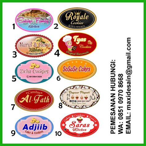 jual stiker toples kue kering sticker label produk bentuk