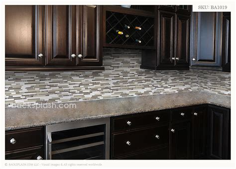 brown glass travertine marble mixed backsplash tile - Backsplash For Brown Cabinets