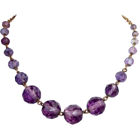 amethyst bead necklace deco graduated faceted amethyst bead gold filled