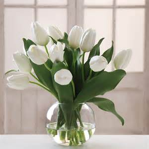 Artificial Flowers In Glass Vase White Tulips In Bubble Bowl Skaff Floral Creations
