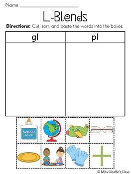 L Blend Worksheets by L Blends Worksheets Pack By Miss Giraffe Teachers Pay