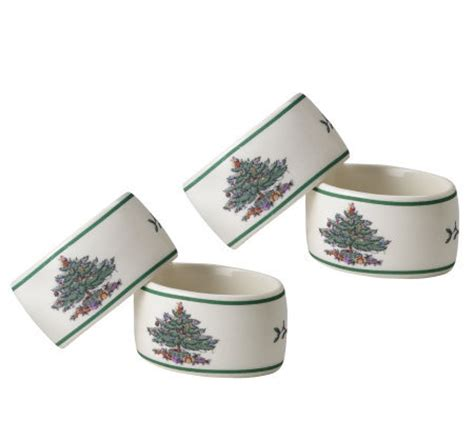 spode christmas tree napkin rings set of 4 qvc com