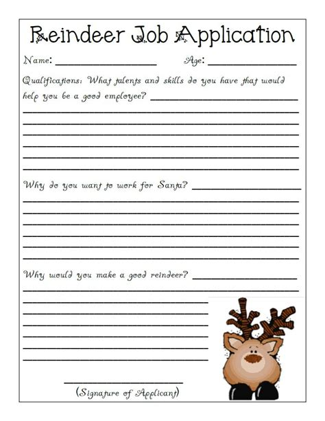 printable reindeer application reindeer application pdf rudolph pinterest