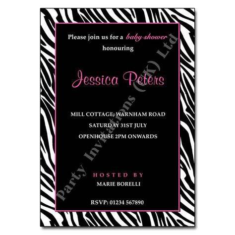 zebra print baby shower invitation