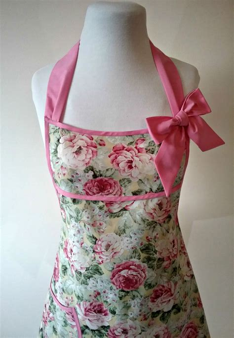 shabby chic apron pastel floral full apron vintage