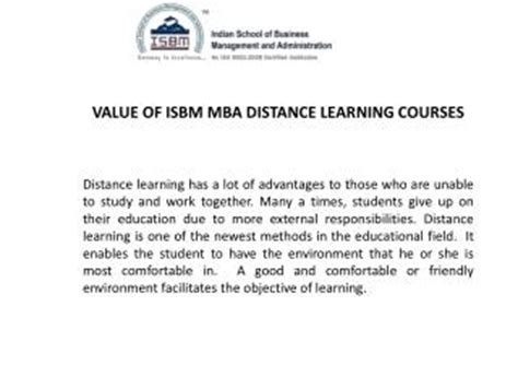 Distance Learning Mba Courses In Ahmedabad by Isbm Mumbai Presentations Channel