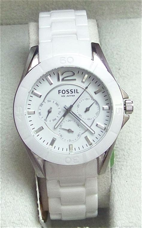 fossil ceramic white multifunction silver