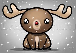How to draw kawaii rudolph step by step christmas stuff seasonal