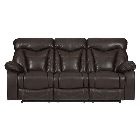 Faux Leather Reclining Sofa by Coaster Zimmerman Faux Leather Motion Reclining Sofa In