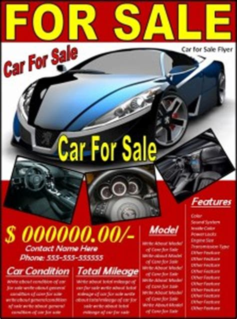 Car For Sale Flyer Template Free Formats Excel Word Car For Sale Flyer Template Free