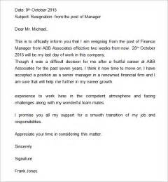 Printable resignation letter 2 week notice template resignation letter