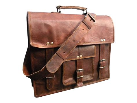 Handmade Leather Satchel - real 14 inch real goat leather handmade travel messenger