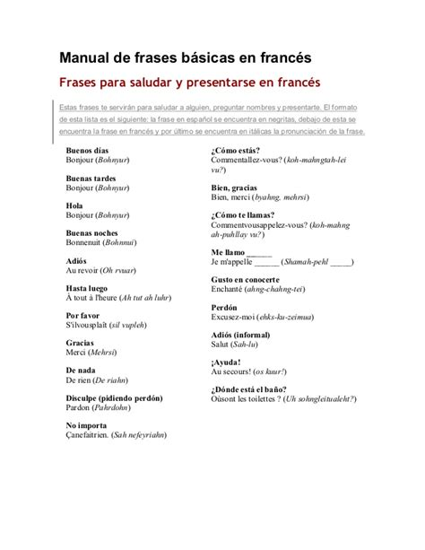 preguntas en frances pronunciacion manual de frases basicas en frances