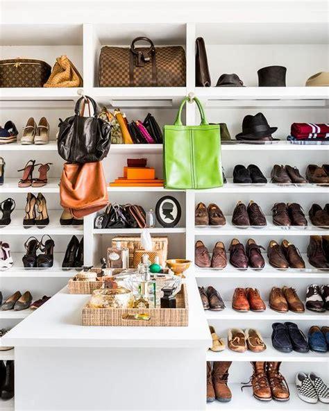 Tas Jaman Now and narrow walk in closet with purse shelves
