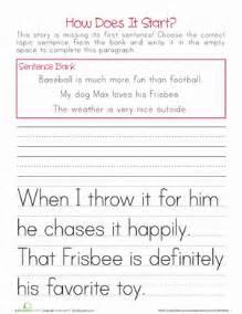 topic sentences worksheet education com