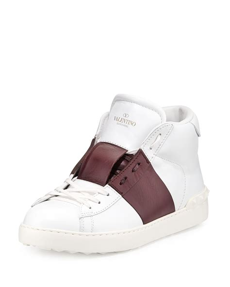 valentino open leather high top sneakers in white for