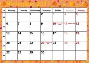 A Calendar For November 2017 Calendar 2017 Months November For Usa Stock Photo