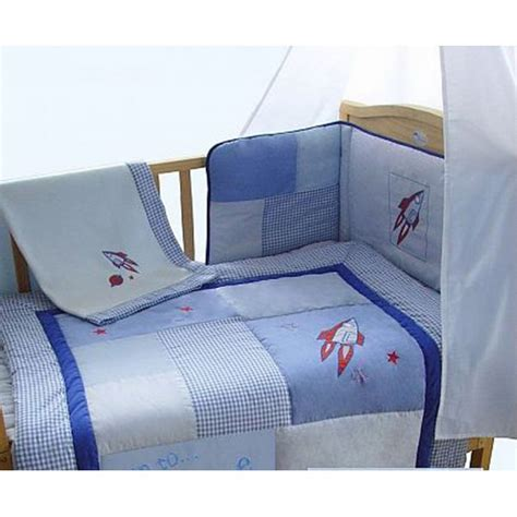 Space Themed Crib Bedding by Snuggle Bed Blue Boys Rocket Space Themed Patchwork 5