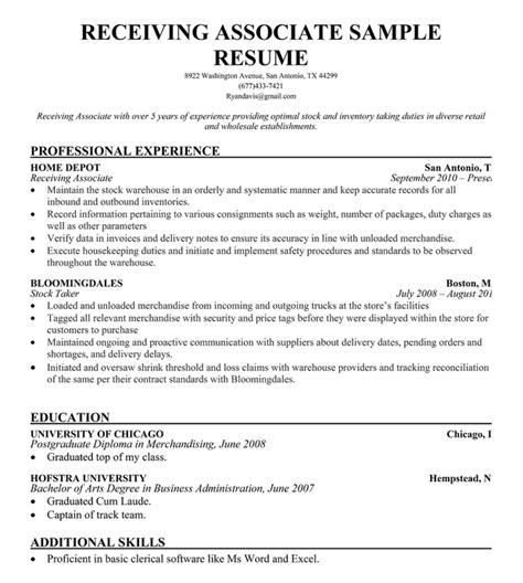 Sle Resume For Warehouse Employee warehouse associate sle resume 28 images best sales